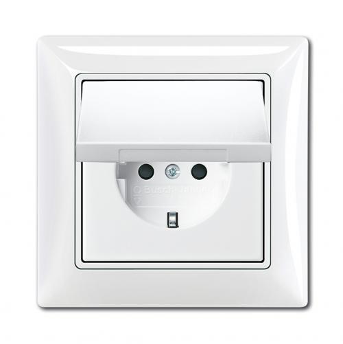 ABB - Контакт с капак влагозащитен IP44 ABB Basic55 Бяло 2018-0-1505