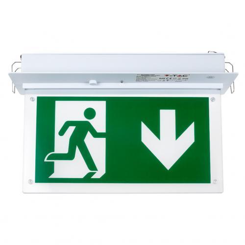 V-TAC - 2W Евакуационна Табела Таван За Вграждане Бяла Светлина SKU 8201 VT-522