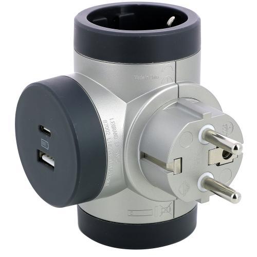 LEGRAND - 694524 Адаптер за контакт 2х Шуко Т-образен въртящ с USB A+C алуминий Legrand