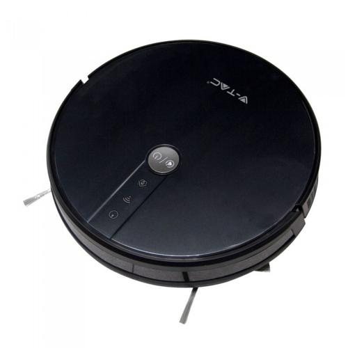 V-TAC - SKU:8650 VT-5555 AUTO CHARGING GYRO ROBOTIC VACUUM CLEANER COMPATIBLE WITH AMAZON ALEXA AND GOOGLE HOME-BLACK