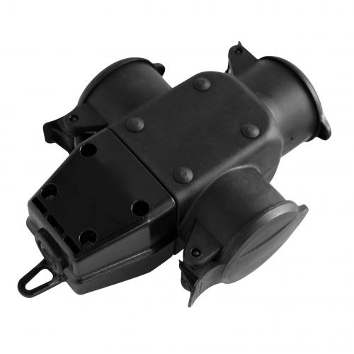 COmmel - Куплунг 3 х шуко с капак Т-образен IP44 16A гумиран Commel 240-501