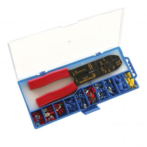 COmmel - Комплект клещи за кримпване и 10 х 10 изол. кабелни обувки Commel 365-751