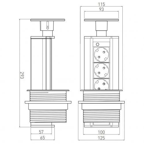 GTV Lighting - Контакт за вграждане в мебел сив AE-BPW3GS-80 контакт тип шуко 3бр.