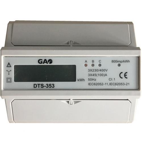 GAO - Трифазен мерител за ДИРЕКТНО мерене на ел. енергия, за DIN монтаж 7 мод, 50A, 5257H