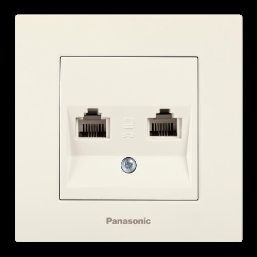 PANASONIC - Розетка двойна компютър CAT6 Panasonic Kare крем WKTC04062BG‐EU1