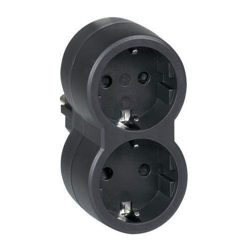 LEGRAND - 50511 Адаптор 2 гнезда за контакт тип шуко черен