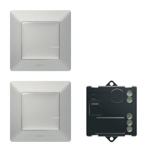 LEGRAND - Комплект девиаторна инсталация Netatmo 752350 Valena Life включващ микромодул и 2х безжични ключа алуминий