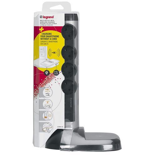 LEGRAND - 694630 Разклонител 4 гнезда, 2xUSB, безжично зареждане на смартфони, защита от пренатоварване, 2 м