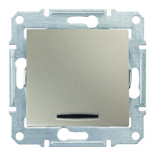 SCHNEIDER ELECTRIC - SDN0501168 Кръстат ключ със синя глим лампа Sedna, 10А , титаний