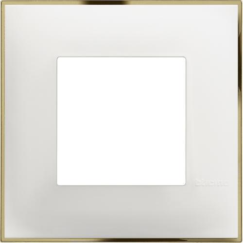 BTICINO - R4802WD Рамка 2М немски стандарт бяло със златно Classia