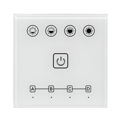 ULTRALUX - SSW4Z Smart 2.4G RF TOUCH wall panel for single colour LED lighting, 4 zones