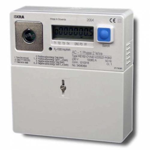 ISKRAEMECO - Монофазен електромер за ДИРЕКТНО мерене на ел. енергия, до 4 тарифи, 85A, MID Iskraemeco ME162