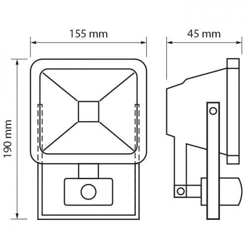 ULTRALUX - SPP31040 LED ПРОЖЕКТОР С ДАТЧИК ЗА ДВИЖЕНИЕ 10W, 4000K, 220V, IP44, НЕУТРАЛНА СВЕТЛИНА