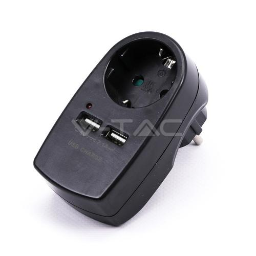 V-TAC - European Type Plug Adapter With Earthing Contact & Charging Interface Black SKU: 8796 VT-1044