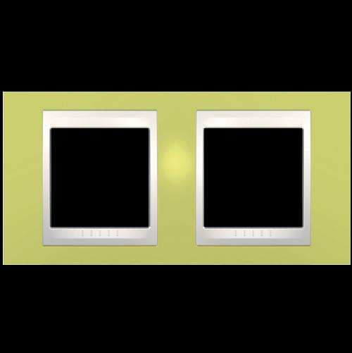 SCHNEIDER ELECTRIC - MGU6.004.563 рамка Unica Plus двойна ябълково зелен/слонова кост