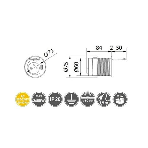 GTV Lighting - Контакт за вграждане в мебел Ø 60 AE-BPW1S1UCH-53 контакт тип шуко + USB 5V 2A
