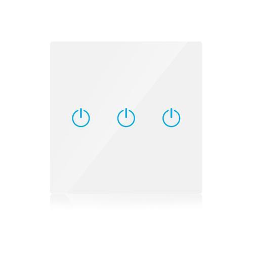 V-TAC - WIFI SMART Touch Ключ Троен Бял Съвместим с Amazon Alexa & Google Home SKU: 8419 VT-500