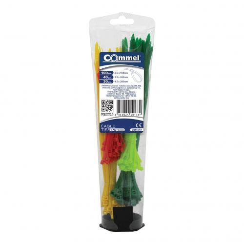 COmmel - Кутия с кабелни връзки цветни 100х2,5мм-100 броя и 200х3,5мм-40 и 200х4,5-30 броя Commel 365-173