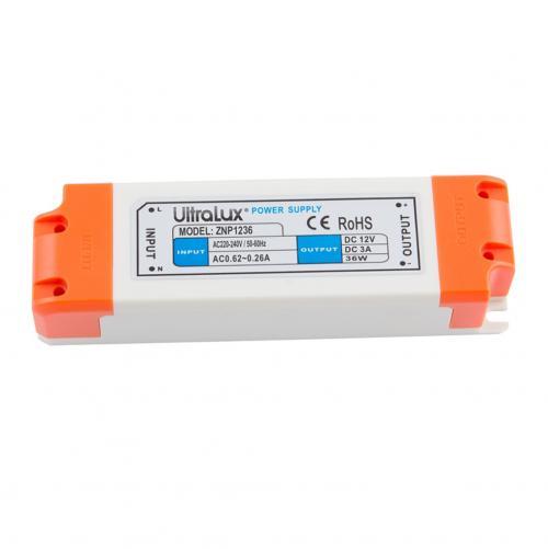 ULTRALUX - ZNP1236 Захранване за LED лента, неводоустойчивo 36W, 12V DC