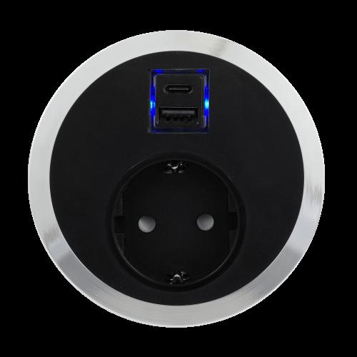 ABL - Модул Port El с хромиран ринг с 1х контакт Шуко стандарт и USB Smart charger тип А+C /1F/SC A+C/ цвят Черен