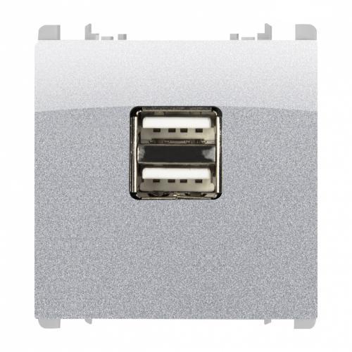 SIMON URMET - 10330/2.AL Supply unit for electronic devices, 5V 1.2A, 2 USB outputs, 2 mod. aluminium
