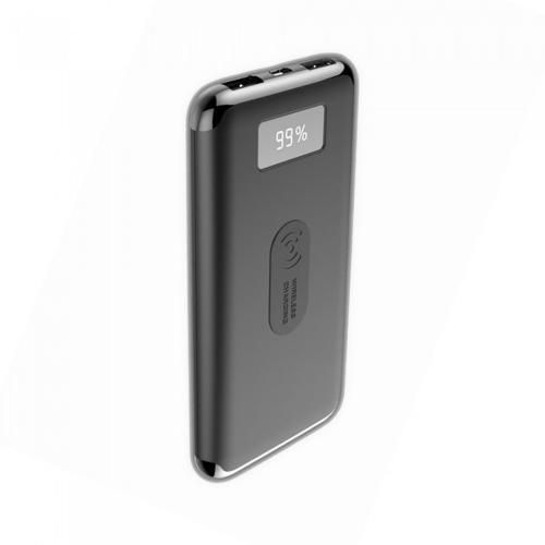 V-TAC - Външна батерия 10000 mA/h, дисплей, безжично зареждане, черна, SKU: 8855 VT-3505