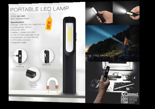 COmmel - 401-020 Работна преносима LED лампа 3W+3W COB 250lm с батерия 3.7V 1200 mAh USB charger IP44