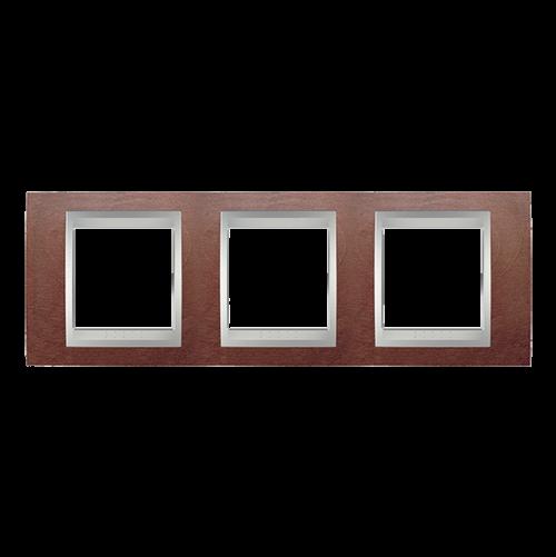 SCHNEIDER ELECTRIC - MGU66.006.0M3 Unica Top - cover frame - 3 gang - wengue/aluminium