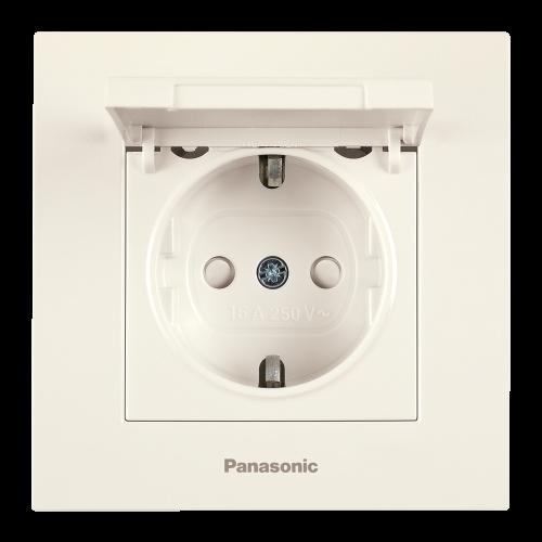 PANASONIC - Контакт шуко с капак Panasonic Kare крем WKTC02102BG‐EU1