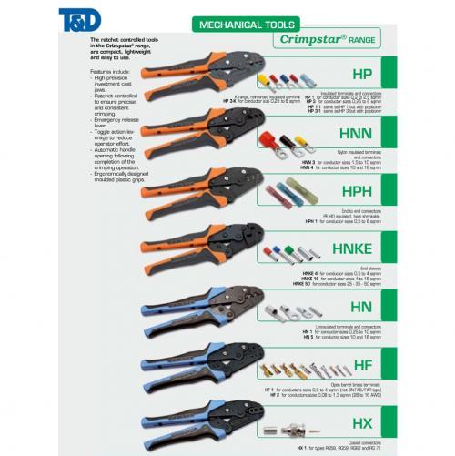 CEMBRE-U.S.A - Клещи за кабелни обувки с изолация от найлон и конектори, сеч.1,5‐10мм2 HNN3