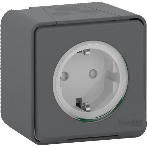SCHNEIDER ELECTRIC - Влагозащитен контакт MUR36731 Mureva Styl сив