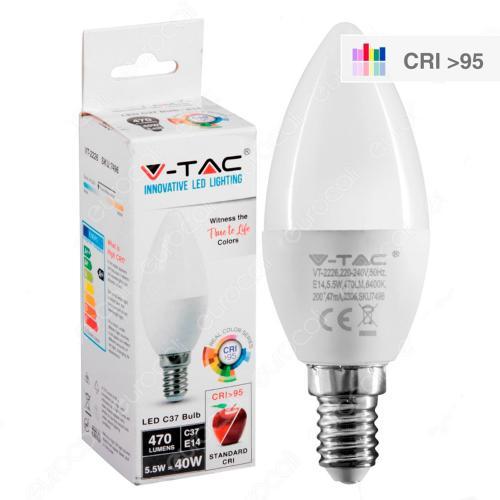 V-TAC - LED Крушка 5.5W E14 C37 Кендъл 4000К CRI 95+ SKU: 7495 VT-2226, 2700К-7494, 6400К-7496