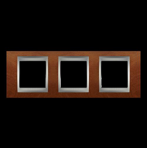 SCHNEIDER ELECTRIC - MGU66.006.0M2 Unica Top - cover frame - 3 gang - cherry tree/aluminium