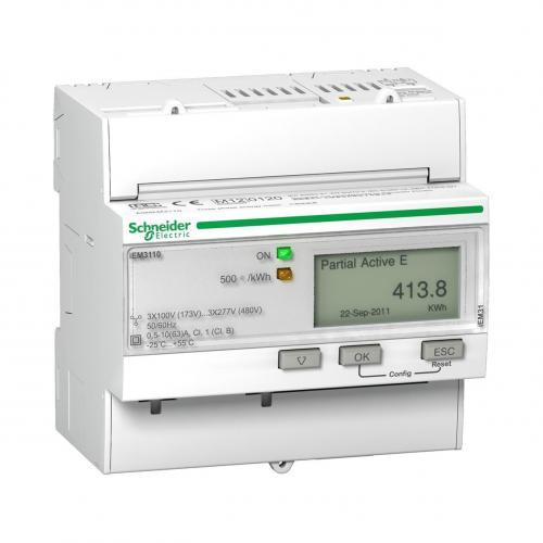 SCHNEIDER ELECTRIC - Трифазен електромер ДИРЕКТНО мерене на ел.енергия Acti 9 iEM, импулсен изход, еднотарифен, DIN монтаж 5 мод 63A MID SE A9MEM3110