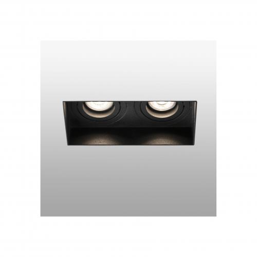 FARO - HYDE Black orientable square recessed lamp without frame 2L Ref.40123