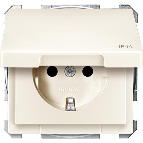 SCHNEIDER ELECTRIC - MTN2414-4044 Механизъм контакт шуко с лицев панел крема IP44 Artec и Antique