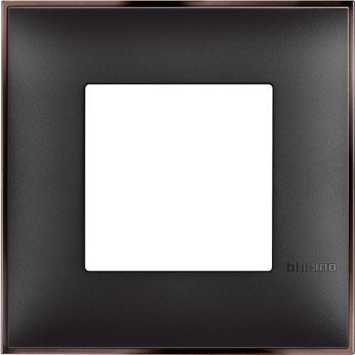 BTICINO - R4802BH Рамка 2М немски стандарт черно с никел Classia