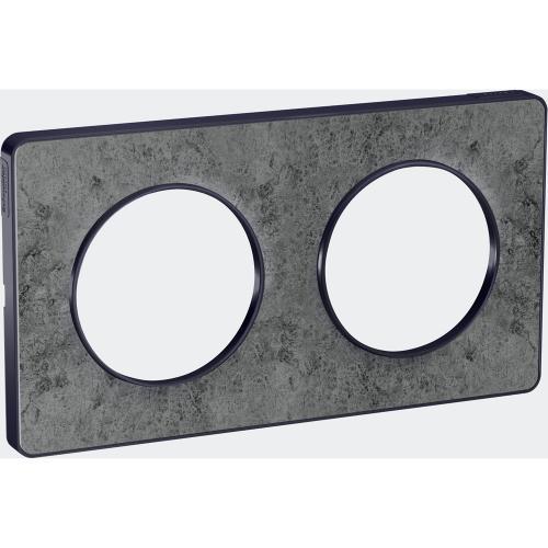 SCHNEIDER ELECTRIC - S540804U Odace Touch aluminium декоративна рамка двойна морски камък с външен кант в цвят антрацит