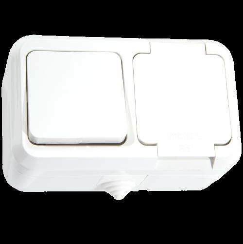 MAKEL - Влагозащитен контакт единичен с капак + ключ единичен сх.1 бял IP 44