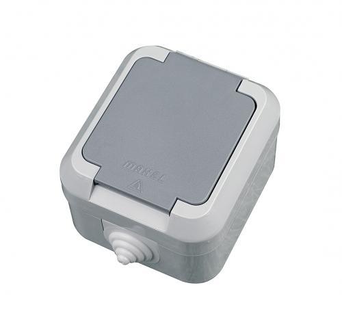 MAKEL - Влагозащитен контакт единичен с капак сив IP 44