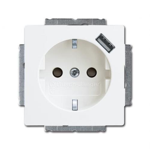 ABB - Контакт ШУКО 16A с USB тип A ABB Basic55 Бяло 2CKA002011A6193
