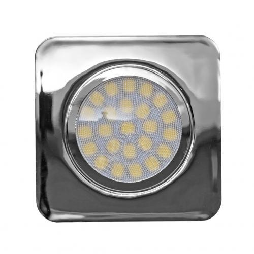 ULTRALUX - LMLS12342CH Мебелна светодиодна луна за вграждане, квадрат, 3W, 4200K, 12V DC, неутрална светлина, SMD2835, IP44, хром