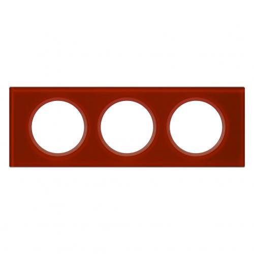 LEGRAND - Тройна рамка Celiane 69473 стъкло кармин
