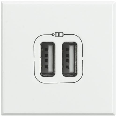BTICINO - HD4285C2 Двойна USB розетка 230V бяла