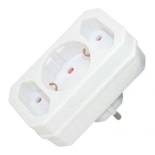 COmmel - Адаптер за контакт бял 2 х ЕВРО и 1 х шуко Commel 49111-1