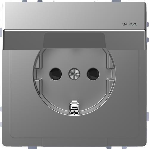 SCHNEIDER ELECTRIC - MTN2314-6036 Механизъм контакт шуко с лицев панел IP44 неръждаема стомана System Design