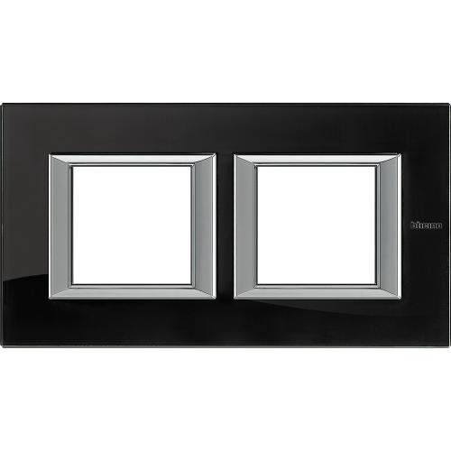 BTICINO - HA4802M2HVNB Двойна рамка 2х2М Nighter стъкло правоъгълна Axolute