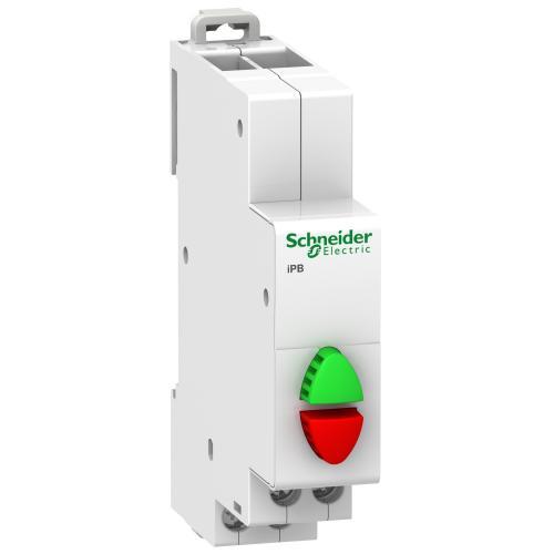 SCHNEIDER ELECTRIC - Модулен бутон двоен Acti 9 iPB 1NO-1NC зелен/червен A9E18034