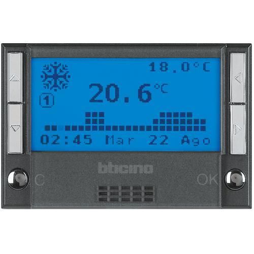 BTICINO - HS4451 Термостат с LCD дисплей 3 мод. с таймер за отопление и охлаждане Axolute антрацит