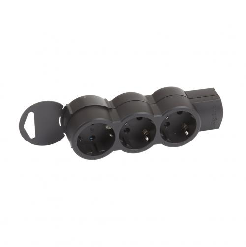 LEGRAND - 695023 Разклонител 3 гнезда черен без кабел